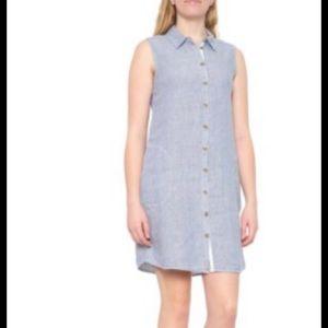 Tahari 100% Linen Striped Button Down Dress